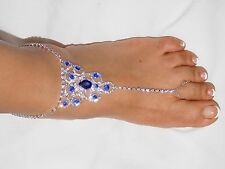 SILVER BLUE RHINESTONE BAREFOOT ANKLET SANDAL WEDDING BELLY DANCE JEWELRY