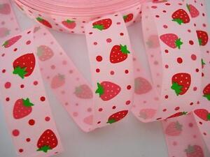 "10 yards Spool Pink/Red Print Grosgrain 7/8"" Fruit Ribbon/craft R13-Strawberry"