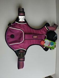 "Kong XL Waste pocket  Dog Harness Purple New 32 - 49 "" Reflective Leash"