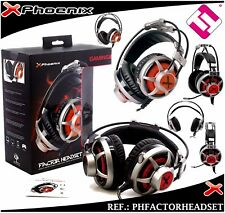 AURICULARES GAMING MICROFONO PHOENIX CABLE 4 PINES A 2 MINI JACK AUDIO GRIS ROJO