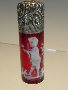 SILVER 1893 CRANBERRY MARY GREGORY PERFUME BOTTLE