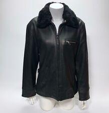Vtg 80s Euro Mondi California Women's Black Leather Jacket Faux Fur Collar M