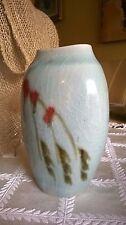 Signed Vintage Green Porcelain Vase with Flowers
