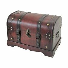 Wooden Treasure Chest with Lock   40 x 23 x 27 cm   Large