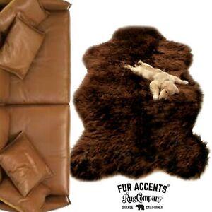 Classic Brown  Bear Skin Shag Rug - Plush Faux Fur - Bonded Suede Lining - USA