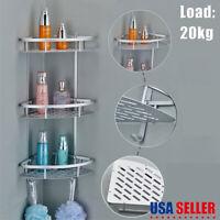 3 Shelf Shower Corner Tension Pole Caddy Organizer Bathroom Bath Storage Rack US