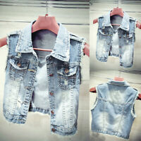 Fashion Women Jean Jacket Long Sleeve Denim Coat Retro Cowboy Pockets Short Vest