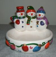 THREE SNOWMAN CERAMIC CANDY DISH: BY GALERIE AU CHOCOLAT: W/O Box