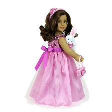 MangoPeaches  EASTER Dress - 5 pc set Bunny Included - Fit American Girl Dolls