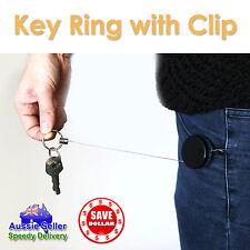 2x Metal Steel Recoil Retractable Key Ring Pull Chain Card Badge Belt Clip Reel