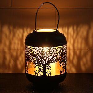 26cm Medium Tree of Life Black Votive Candle Holder Lantern Laser Cut Out Design