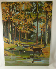 """VINTAGE Deer in Forest  PAINT BY NUMBER PAINTING  12"""" x 16"""""""