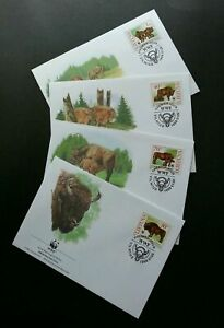 [SJ] Lithuania WWF Bulls 1996 Cow Protected Mammals Fauna Wildlife (stamp FDC)