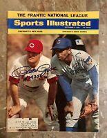 1969 Cincinnati Reds PETE ROSE & Cubs ERNIE BANKS Signed Full Sports Illustrated