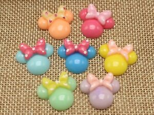 25 Mixed Color Flatback Resin Mouse Face Cabochons 21X18mm DIY Embellishments