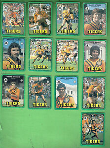 #D411.  1978  BALMAIN TIGERS SCANLENS RUGBY LEAGUE CARDS, ALL 13 CARDS