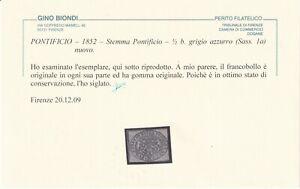 1/2 b. GRIGIO AZZURRO SASS 1a MLH* FRESCO BEN MARGINATO CERTIFICATO BIONDI RARO