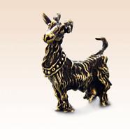 Miniatur Bronze Figur Ziege 2 Skulptur Kunst manuelle Verarbeitung selten