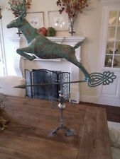 Huge Handcrafted 3 Dimensional Jumping Deer Weathervane Copper Patina Finish