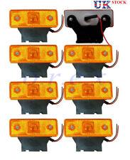8x 24V Amber Front Side Marker LED Lights Indicator c/w rubber bracket fit Truck