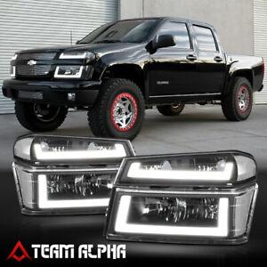 Fits 2004-2012 Chevy Colorado {DUAL LED U-BAR} Black/Clear Headlight+Signal Lamp