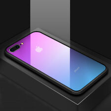 Tempered Glass Back Slim Shockproof Hybrid Case Cover For iPhone X 8 Plus 7 6 6S