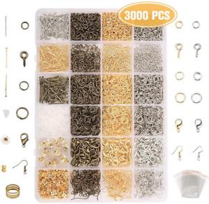 3000psc Accessoires de Bijoux DIY Kit Fabrication de Bijoux avec boite Plastique