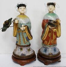 Lg Pair Vintage Chinese Cloisonne Enamel Statues in Gilt Robes Gourd Lotus
