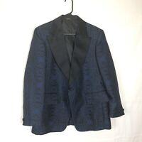 After Six Tuxedo Jacket Rockabilly Dinner Brocade Satin Lapels Blue Black 42R