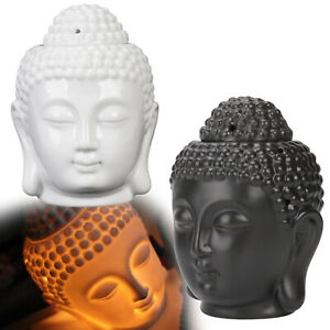 Ceramic Buddha Head Oil Burner Melt Wax Warmer Diffuser Tealight Candle Holder