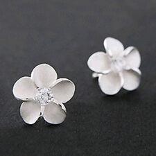 1Pair 925 Sterling Silver Plum Flower Crystal Ear Stud Earrings Women Girl Gift