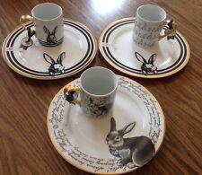 6 Ciroa Easter Bunny Plate Mug Fine China Rabbit Love Spring New Gold Dinner