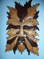 * UNIQUE WOODEN GREENMAN WALLHANGING  Means New beginnings and Growth*