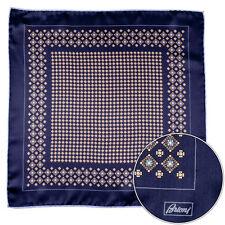 Men's BRIONI Black Orange Floral Silk Hand Rolled Pocket Square Handkerchief