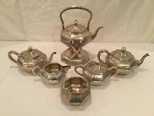 Antique 6 Piece Hand Wrought International Sterling Silver Tea Set
