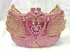 Gold Luxury Bling Pink Crystal Swan Handmade Austrian Clutch Party Evening Bag