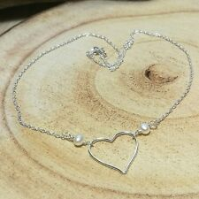 Sterling Silver And Freshwater Pearl Heart Necklace Handmade Bridesmaid Gift