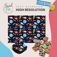 Chocolate Transfer Sheet (Space, Rockets, Planet) Edible for Decorations A4 Size
