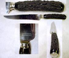 VINTAGE Hunting Carving KNIFE Dagger BLACK BONE Antler STAG Handle STEEL BLADE