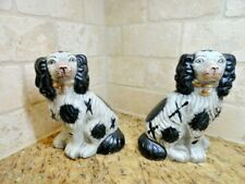 """Two Staffordshire Style Dogs King Charles Cavalier Spaniel Black White 7"""""""