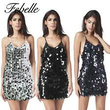 Febelle Women Party Dress Sequin Bodycon Halter Mini Clubwear Dress AUHF
