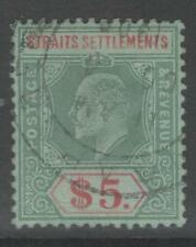 MALAYA STRAITS SETTLEMENTS SG167 1909 $5 GREEN & RED/GREEN FINE USED