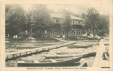 Putnam Michigan Sanlochen Club boats waterfront Coller postcard 8645