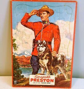 Vintage 1950s Sergeant Preston and his Dog Yukon King Framed Tray Jigsaw Puzzle