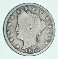 Historic G/VG Circulated - 1883 Liberty V Nickel - Without Cents- First Year