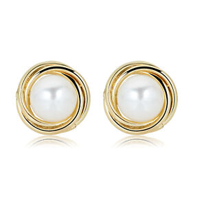 14K Yellow Gold Love Knot Freshwater Cultured Pearl Stud Earrings