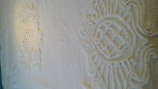 Vintage White Chenille Bedspread Bed Spread Queen Full Cotton Vtg coverlet