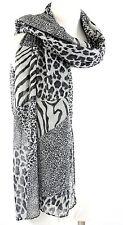 B61 Leopard Zebra Animal Patchwork Print Gray & Black Long Scarf Boutique