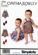 Simplicity Sewing Pattern 1594 Baby Sz Xxs-L Rompers With Ruffle Option & Shoes