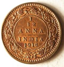 1916 BRITISH INDIA 1/12 ANNA - AU High Grade Coin - FREE SHIP - Bin #DDD